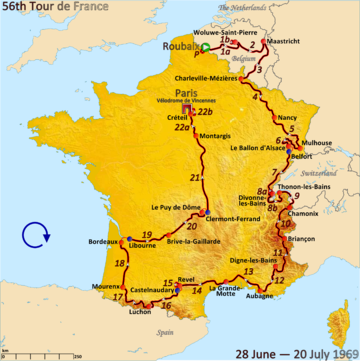 Route of the 1969 Tour de France