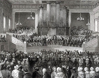 Exeter Hall - Meeting of the Royal Humane Society in the Great Hall of Exeter Hall in the 1840s.