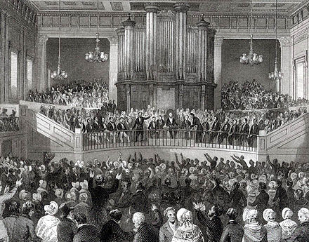 Meeting of the Royal Humane Society in the Great Hall of Exeter Hall in the 1840s. Royal Humane Society Meeting in Exeter Hall.jpg