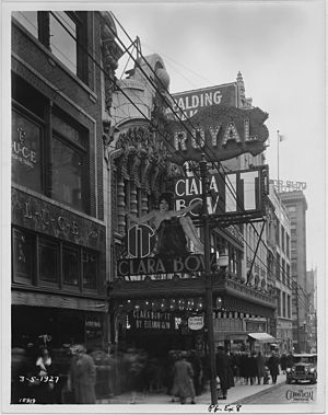"It (1927 film) - Clara Bow on the marquee of a theater in Kansas City showing ""It""."