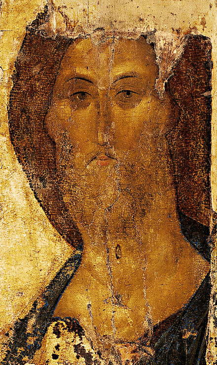 Christ the Redeemer icon from the so-called Zvenigorod Chin (c. 1410; today at the Tretyakov Gallery, Moscow)