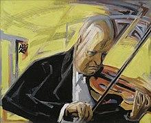 Paul Hindemith mit Bratsche (1956), Gemälde von Rudolf Heinisch (Quelle: Wikimedia)