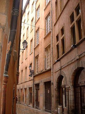 Vieux Lyon - Rue de Gadagne in the heart of the Vieux Lyon.