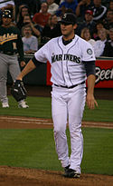 Ryan Rowland-Smith wearing the Seattle Mariners home uniform in 2008.