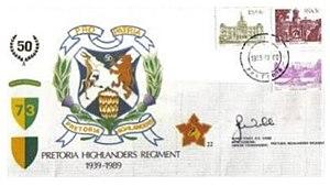 Pretoria Highlanders -  73 Brigade Pretoria Highlanders commemorative letter circa 1989