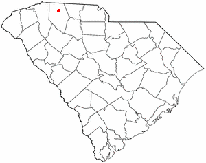 Boiling Springs, South Carolina - Image: SC Map doton Boiling Springs