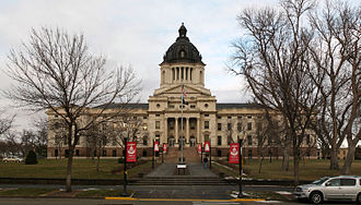 Pierre, South Dakota - The South Dakota State Capitol building near the Missouri River in downtown Pierre