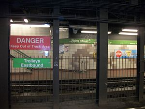 36th Street station (SEPTA) - View from the eastbound platforms under the street.
