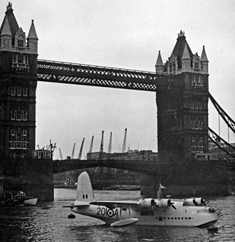 Tower Bridge - A Short Sunderland of No. 201 Squadron RAF moored at Tower Bridge during the 1956 commemoration of the Battle of Britain