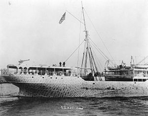 Defensively equipped merchant ship - The US passenger steamer SS Kroonland in November 1917, showing camouflage paint and stern-mounted gun