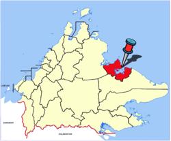 Lage der Stadt innerhalb des Distrikts Sandakan