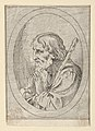Saint Jude in prayer, seen in profile facing left with a staff resting on his shoulder, in an oval frame, from Christ, the Virgin, and Thirteen Apostles MET DP837884.jpg