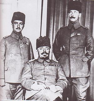 Wehib Pasha - The commander of the Ottoman Third Army Mehmed Vehib Pasha with doctor Salim Bey and staff colonel Husrev Bey.