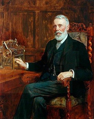 Samuel Lister, 1st Baron Masham - Samuel Lister, 1st Baron Masham with a model of one of his inventions, 1901 portrait by John Collier