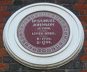 Blue plaque - Society of Arts plaque on Samuel Johnson's house in Gough Square, London (erected 1876). Many of the early Society of Arts and LCC plaques were brown in colour.