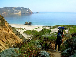 San Miguel Island - Hiking down to Cuyler Harbor from the campground