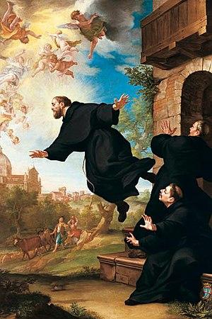 Joseph of Cupertino - St. Joseph of Cupertino is lifted in flight at the site of the Basilica of Loreto,  by Ludovico Mazzanti (18th century)