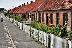 Front yard - A row of front gardens on the Danish island of Bornholm.
