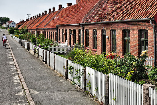 A row of front gardens on the Danish island of Bornholm.