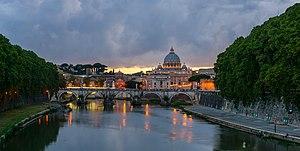 Sant'Angelo bridge, dusk, Rome, Italy.jpg