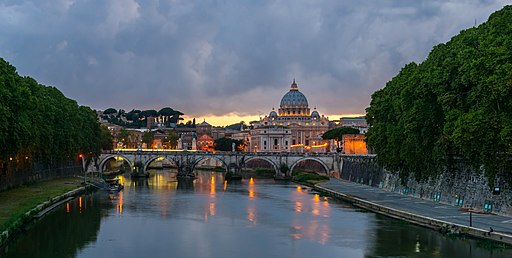 Sant'Angelo bridge, dusk, Rome, Italy