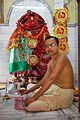 Sasanka Sekhar Chatterjee with Large-eyed Durga - Bishalakhi Mandir - Sankrail - Howrah - 2013-08-15 1490.JPG