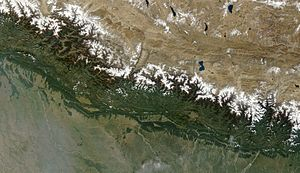 Geography of Nepal - Satellite image of Nepal in October 2002