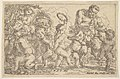Satyr playing a pipe beside a putti holding a mask, surrounded by putti climbing over a low wall and dancing with musical instruments MET DP828586.jpg