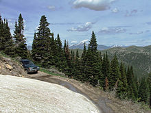 A car on a forest road in the Raft River Mountains