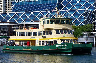 "A ""First Fleet"" class ferry in service on the Sydney Ferries network Scarborough, Pyrmont Bay, 2017 (01).jpg"