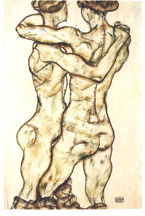 Schiele - Sich umarmende Mädchen - Rückenansicht - 1914