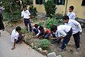 School Students Planting Polianthes tuberosa - Ramakrishna Mission Ashrama - Sargachi - Murshidabad 2014-11-11 8970.JPG