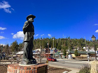 Colfax, California - A statue of the town's namesake U.S. Vice President Schuyler Colfax stands near the railroad station in history downtown Colfax.