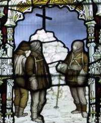 Memorial window in Binton Church, Warwickshire, one of four panels. This one depicts the cairn erected over the site of Scott's last tent.
