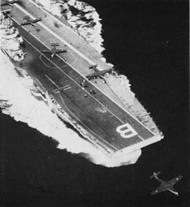 Sea Hawks launching from HMS Bulwark (R08) 1956.jpg