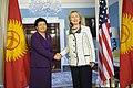 Secretary Clinton Shakes Hands With Kyrgyzstani President Otunbayeva (5510459405).jpg