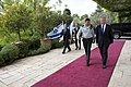Secretary of Defense Chuck Hagel walks with the senior military assistant to Israeli President Shimon Peres before a meeting in Jerusalem, April 22, 2013.jpg