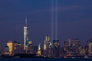 Tribute in Light - In 2014, as seen from Bayonne, New Jersey.
