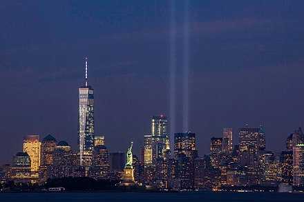 The Tribute in Light on September 11, 2014, on the thirteenth anniversary of the attacks, seen from Bayonne, New Jersey. The tallest building in the picture is the new One World Trade Center. September 11th Tribute in Light from Bayonne, New Jersey.jpg