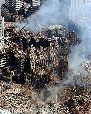 Responsibility for the September 11 attacks - September 17, 2001 – A small portion of the scene where the World Trade Center collapsed following the September 11 attacks.