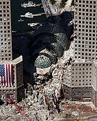 Damaged buildings near the World Trade Center after the collapse