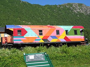International co-production - A train car used in the production of Sesam Stasjon, an international co-production of Sesame Street based in Norway.