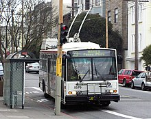 A trolleybus on the 21-Hayes line.