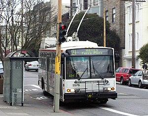 San Francisco Municipal Railway - A trolleybus on the 21-Hayes line