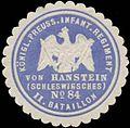 Siegelmarke K.Pr. Infanterie Regiment von Hanstein (Schlesisches) No. 84, II. Bataillon W0370642.jpg