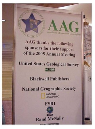 American Association of Geographers - Sign at the AAG Annual Meeting illustrating a few of the partnerships that AAG has had over its long history.