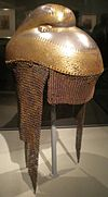 Sikh helmet with chainmail neck guard front Asian Art Museum SF 1.JPG