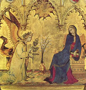 International Gothic - Detail of the Annunciation (1333) by the Sienese Simone Martini, Uffizi.