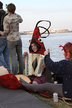 Singing Crawfish. Costumed revelers by the Mis...