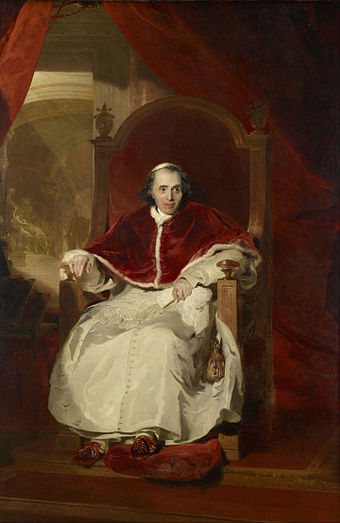 Lawrence painted Pope Pius VII in Rome in 1819 Sir Thomas Lawrence - Pope Pius VII (1742-1823) - Google Art Project.jpg